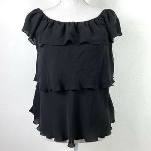 White House Black Market Medium Silk Blouse Black